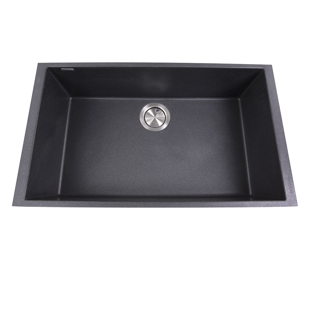 Nantucket Sinks PR3018-BL Single Bowl Undermount Granite Composite Sink, Large, Black