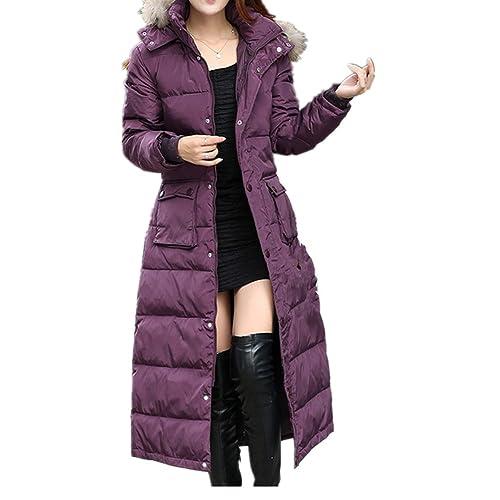 Chaqueta larga de Silk cruzada con capucha engrosada para mujer con capucha y cinturón de piel sinté...