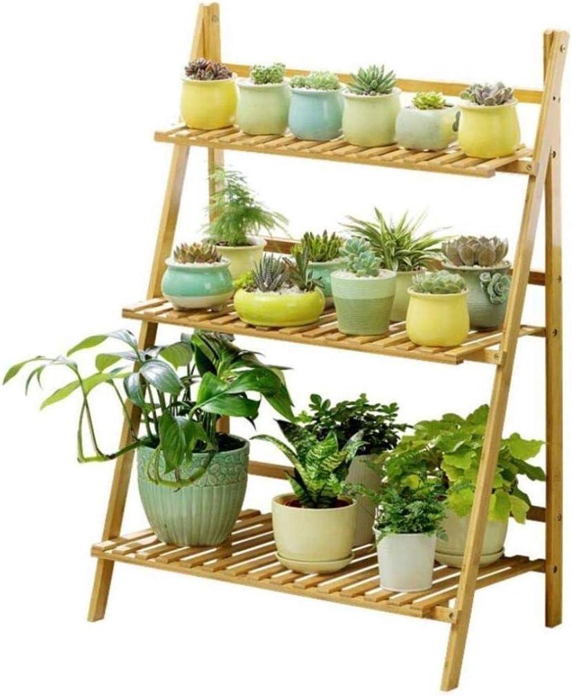 3 niveles plegable de madera Planta de soporte de madera puesto de flores soporte de la planta soporte del soporte del estante del soporte jardín interior al aire libre Escalera HUA0407J (Tamaño,