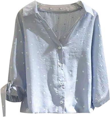 Mujer Blusas de Manga Medio Punto de Ola Camisetas,Camisa de Mujer Elegantes de Fiesta,Casual Tops Sudadera,Moda Blusa: Amazon.es: Ropa y accesorios