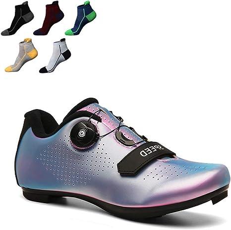 YZJYB Zapatillas De Bicicleta De Carretera con Hebilla Giratoria Ajustable Y 5 Pares De Calcetines Deportivos 1 Par Zapatillas De Ciclismo para Adultos Calzado De Carreras De Triatlón: Amazon.es: Deportes y aire