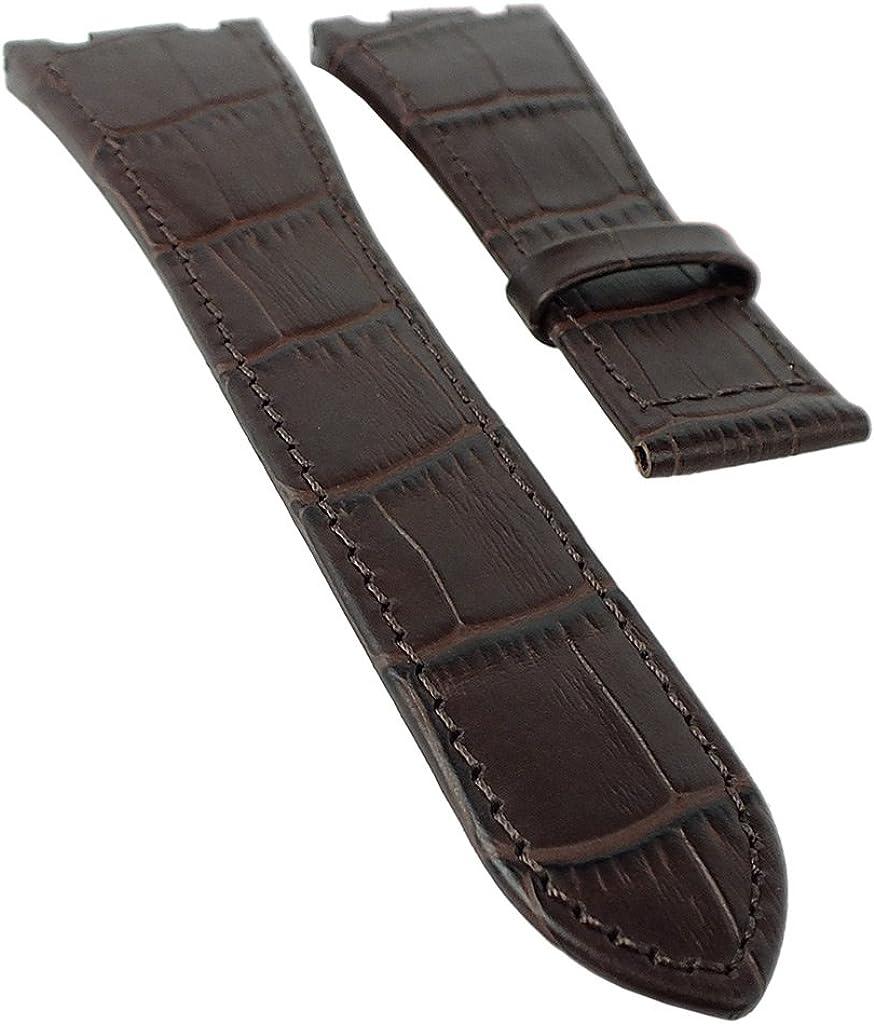 Jaguar Swiss Made - Correa de repuesto para reloj de pulsera de piel marrón oscuro con relieve de cocodrilo para J666 J667 J670 J696