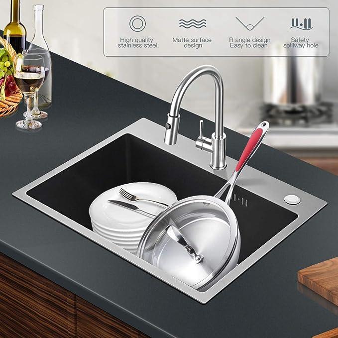 Auralum 55 × 45 × 22 cm Acero Inoxidable Fregadero de Cocina Fregadero Empotrado Cuadrado con Sifón para Cocina, Espesor de Placa de Aproximadamente 3 ...