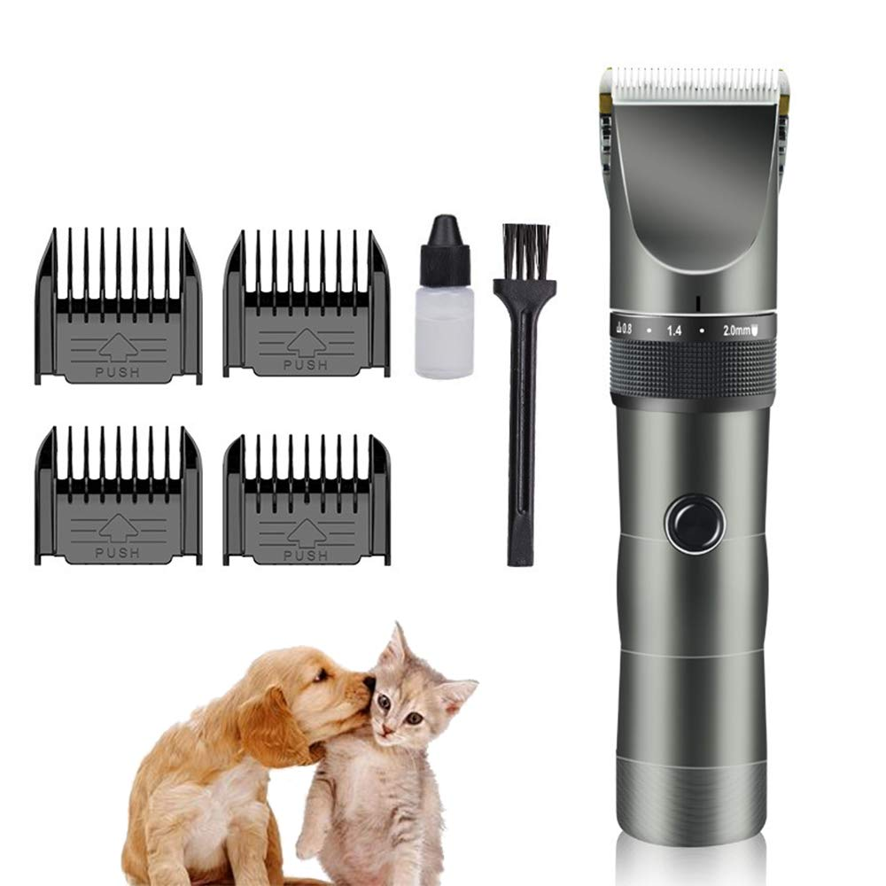 Dog Grooming Clippers for Pets, Cordless Rechargeable Cat Hair Trimmer Kit, Low Noise Professional Pet Hair Clipper with 4 Limiting Comb + 5 Mode Adjustments