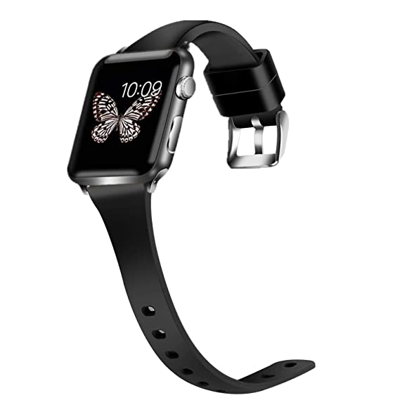 4d22412eb94 Greatfine Compatible with Apple Watch Band 42MM 44MM Slim Soft Silicone iWatch  Bands