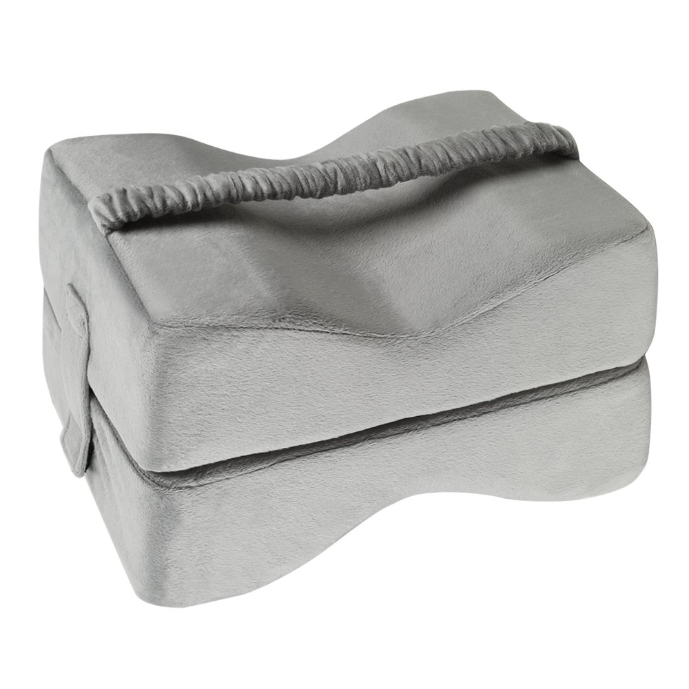 TTLIFE Nerve Pain Relief Memory Foam Knee Pillow & Leg Rest - Ultra Smooth Velour Washable Cover - Dual Foam - Great for pains of Hip, Leg, Knee, Back and Pregnancy (Grey)