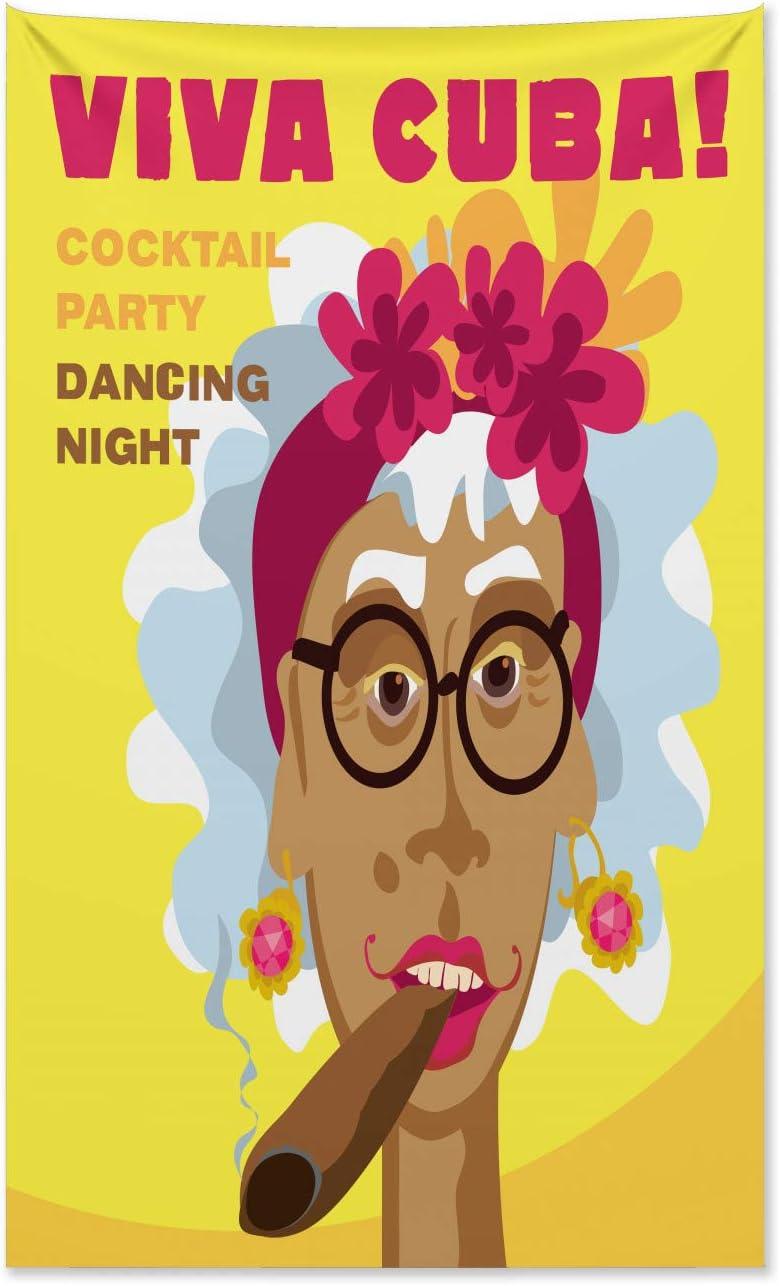 pour la Chambre 140 x 230 cm ABAKUHAUS Cigare Tapisserie Cuba Femme Art Caricature Multicolore