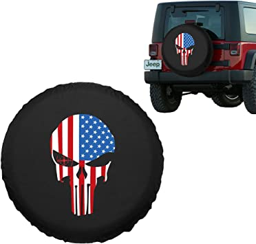 RV Camper and Vehicle Sofu Spare Tire Cover Wheel Cover with Skull PVC Leather Waterproof Dust-Proof Universal Fit for Jeep,Trailer SUV 16 for Diameter 29-31
