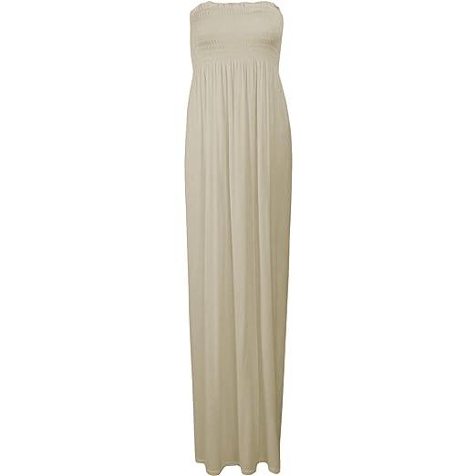 de8ae9e68f Fashion Wardrobe New Womens Sexy Boho Bandeau Boob Tube Maxi Ladies  Sheering Long Gather Dress (
