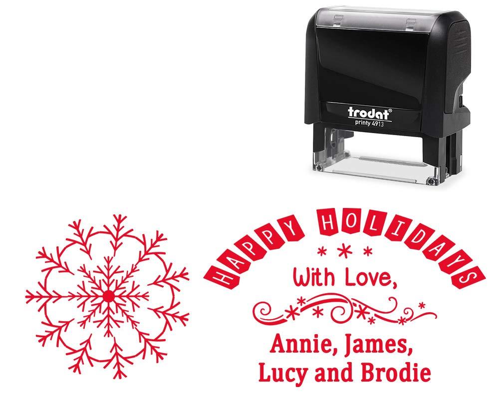 Merry Christmas Happy Holidays セルフインクスタンプ 大型 家族スタンパー 愛情付き カスタムメイドでパーソナライズされています。 アメリカ製。  Design 192 B07J25J11T
