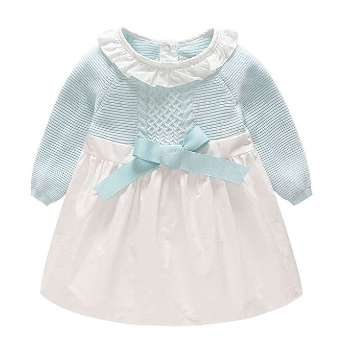 Vestido Bebé Niña - Niño Bebé Chica Vestido Ropa Manga Larga Fiesta Bowknot Vestidos de Princesa