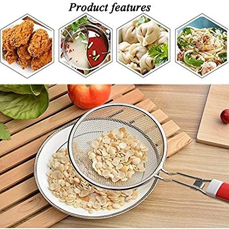 Skimmer Cuchara - Colador de malla fina de acero inoxidable con mango largo de plástico antiquemaduras para alimentos cocina cocina grasa aceite filtro de ...