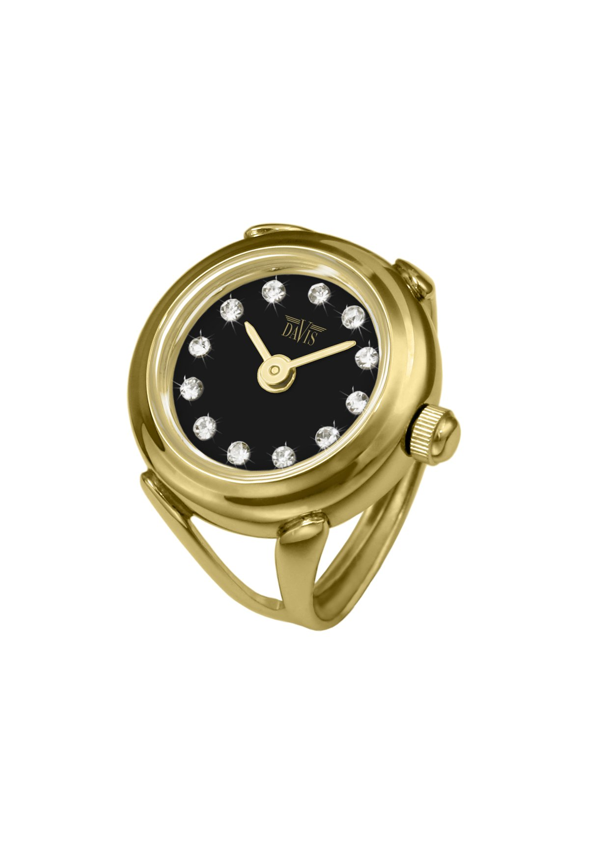 Davis - Womens Finger Ring Watch Swarovski Crystal Rhinestones Sapphire Glass Adjustable (Gold Steel / Black Dial)