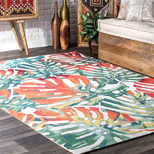 nuLOOM Hannah Floral Indoor/Outdoor Rug, 5' x 8', Multi (Rugs 5x8 Tropical Area)