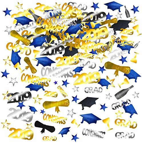Konsait 2019 Graduation Confetti, Graduation Party Supplies, 2 Oz/ 1500 Pieces, Graduation Table Decorations, Gold, Black, Silver and Blue Congrats, Stars, 2019, Cap, Goblet, Diploma Confetti]()