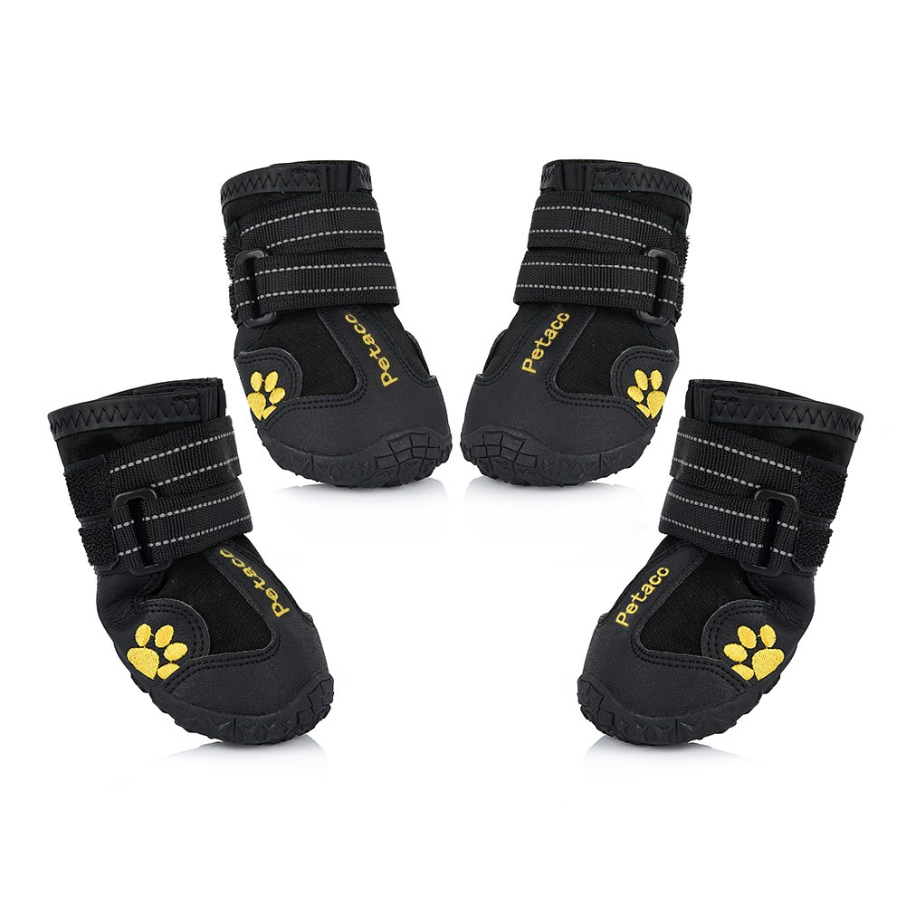 Black 8(3.3\ Black 8(3.3\ Petacc Dog Boots Water Resistant Dog shoes for Large Dogs and Black Labrador 4 Pcs in Size 8 Black