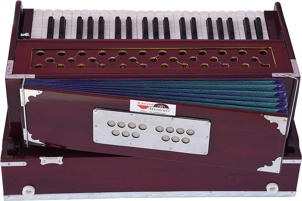 Harmonium Traveler/Portable/Folding Type By Kaayna Musicals, 9 Stops- 5 Main & 4 Drone, 3½ Octaves, Coupler, Dark Colour, Gig Bag, Bass-Male Reed - 440 Hz, Suitable for Yoga, Bhajan, Kirtan, Mantra by Kaayna Musicals (Image #8)