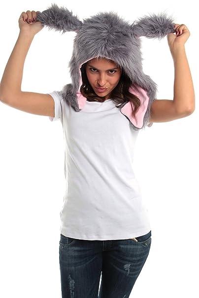 711d82bb7d6 Amazon.com  Faux FUR ANIMAL HATS Gray Nasty Rabbit Pink Ears HOODS ...
