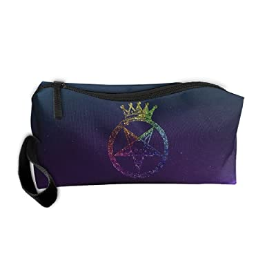 Pentagram With Satanic Goat Head Crown Travel Toiletry Bag Pencil Bag Organizers
