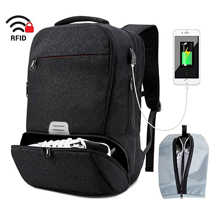 Travel Laptop Backpack Men Sports Gym Bag with Shoes Compartment Water Resistant College Computer Bag with USB Charging Port Fit 16.5 inch Laptop (Black) best gym backpacks