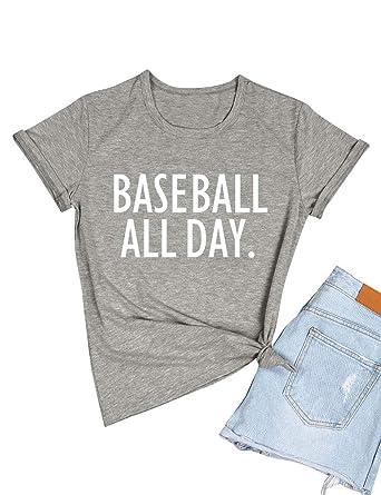 d8aa7496 ZJP Women Casual Short Sleeve Baseball All Day Letter Print Shirt Tee Top  Blouse
