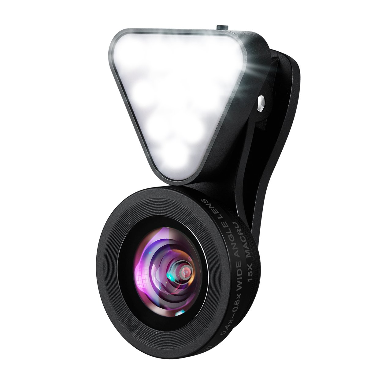 KeeKit 3 in 1 Cell Phone Lens Kit, 10 LED Rechargeable Beauty Selfie Light, 15X Macro Lens, 0.4X-0.6X Wide Angle Lens, 3 Adjustable Brightness Fill Light for iPhone, Samsung & Most Smartphones by KeeKit