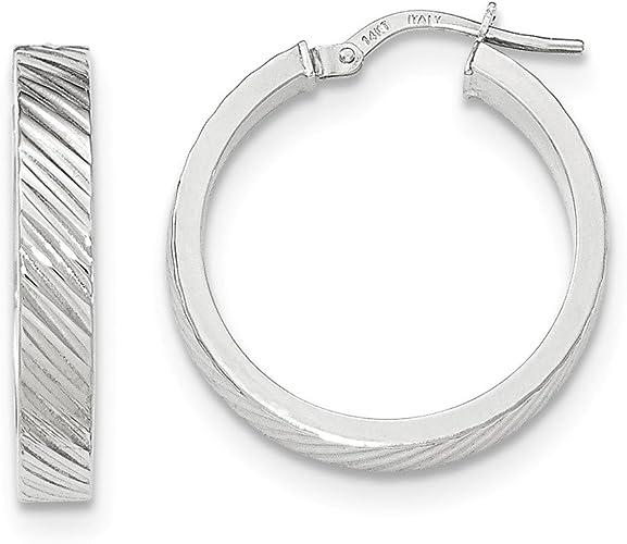 10K Gold Triple Stripe Squared Flat Hoop Earrings 20mm