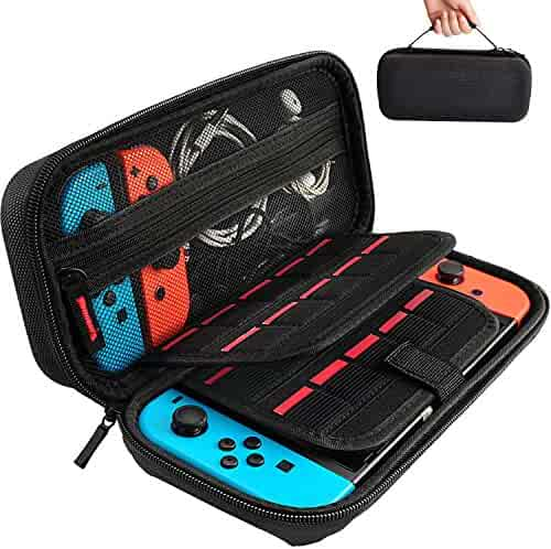 daydayup Hestia Goods Switch Carrying Case compatible with Nintendo Switch - 20 Game Cartridges Protective Hard Shell Travel Carrying Case Pouch for Nintendo Switch Console & Accessories, Black