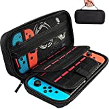 Hestia Goods Switch Carrying Case compatible with Nintendo Switch - 20 Game Cartridges Protective Hard Shell Travel Carrying Case Pouch for Nintendo Switch Console & Accessories, Black