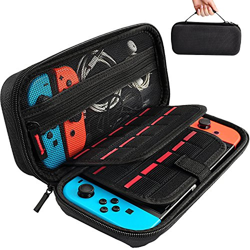 Solid Strap Zipper - Hestia Goods Switch Carrying Case for Nintendo Switch, With 20 Games Cartridges Protective Hard Shell Travel Carrying Case Pouch for Nintendo Switch Console & Accessories, Black