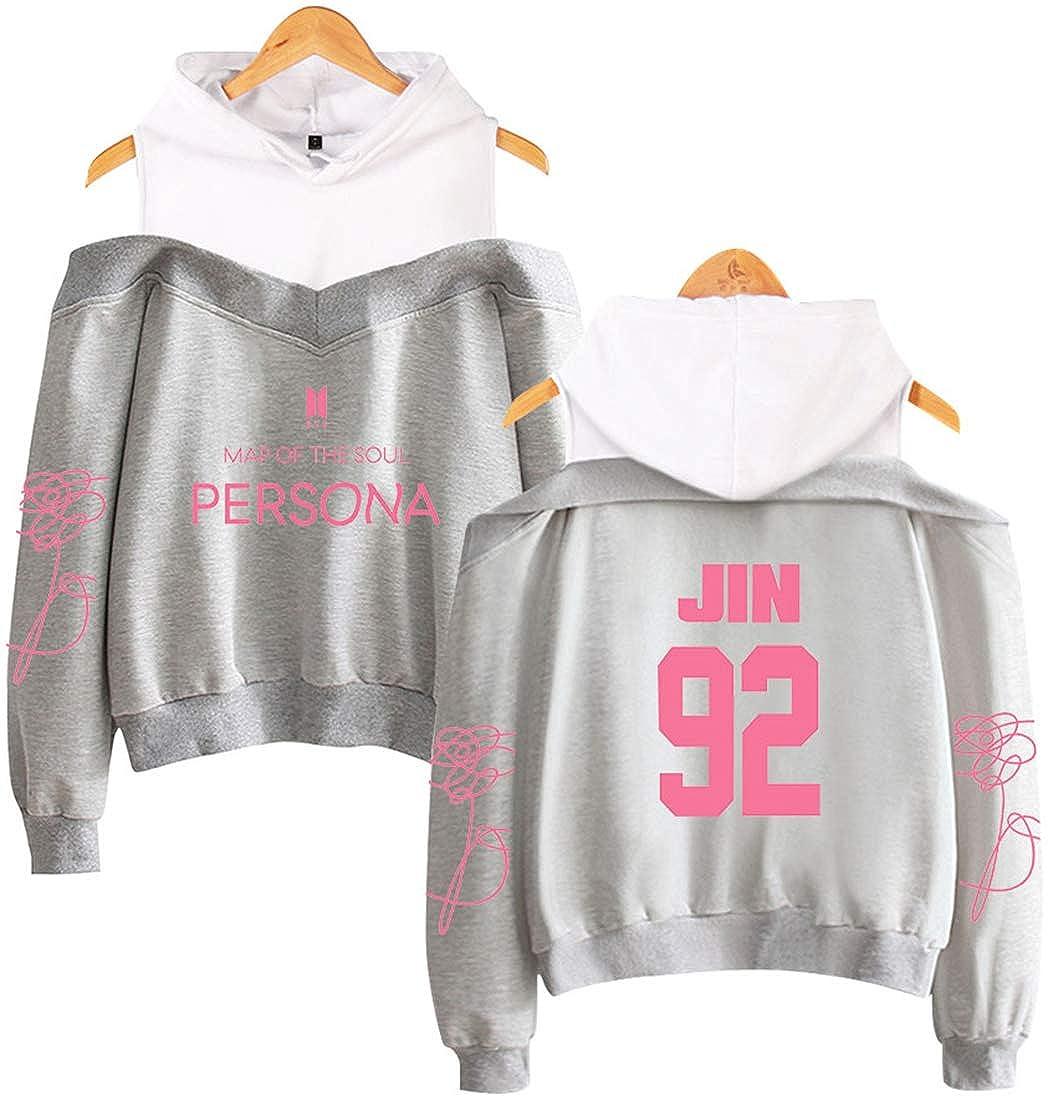 EmilyLe Womens Off Shoulder Hoodie Kpop BTS New Album Map of The Soul Persona Jin Suga J-Hope RM Jimin V Jung Kook Fashion Top
