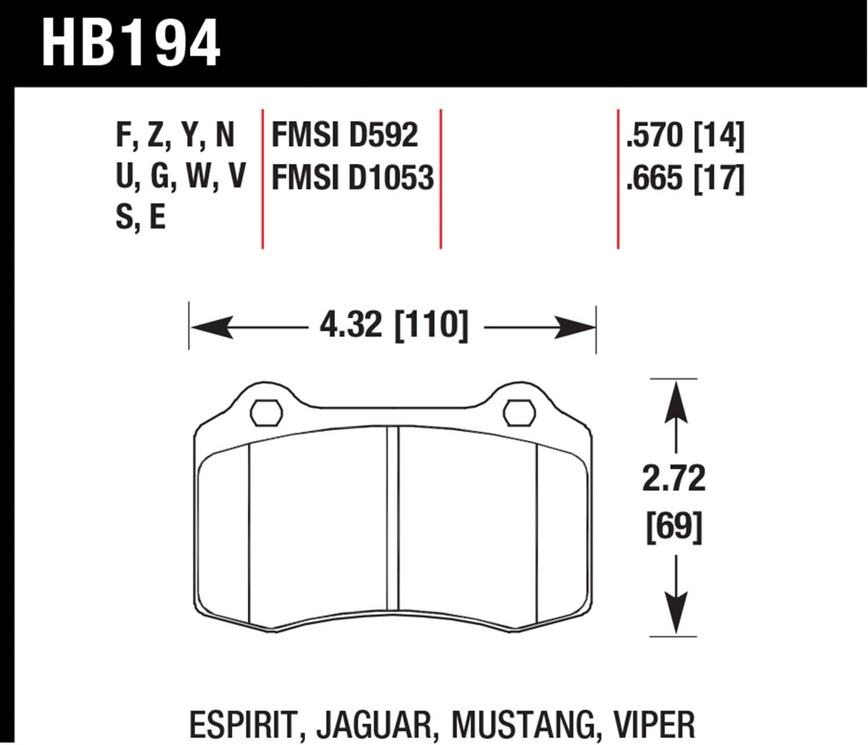 Rear Hawk Performance HB194U.570 Disc Brake Pad