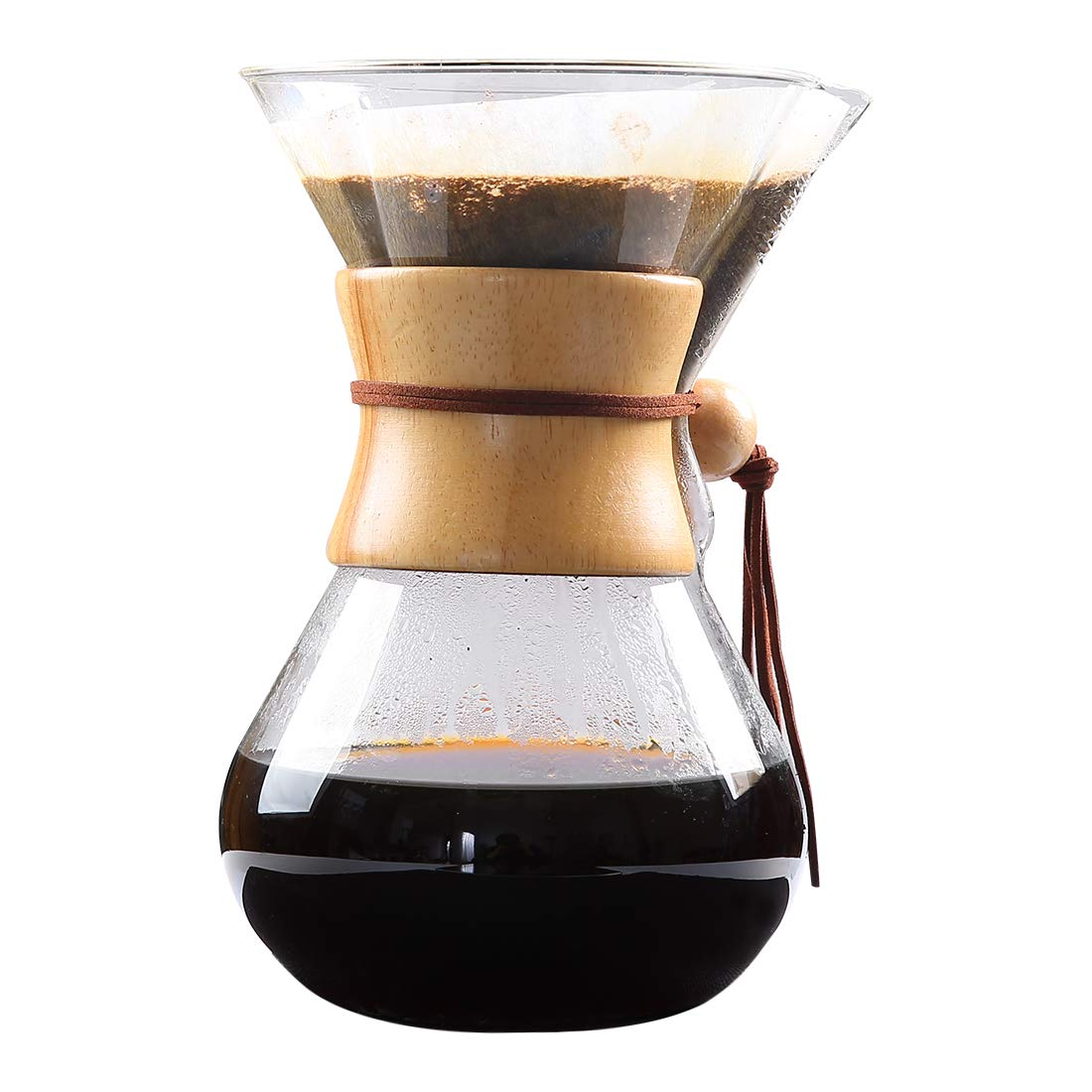 EMONIA Classic Pour Over Coffee Maker 27 oz Brewer Strong Borosilicate Glass Pour-over Glass Coffeemaker Elegant Hand Manual Coffee Cork Band (800 ML)