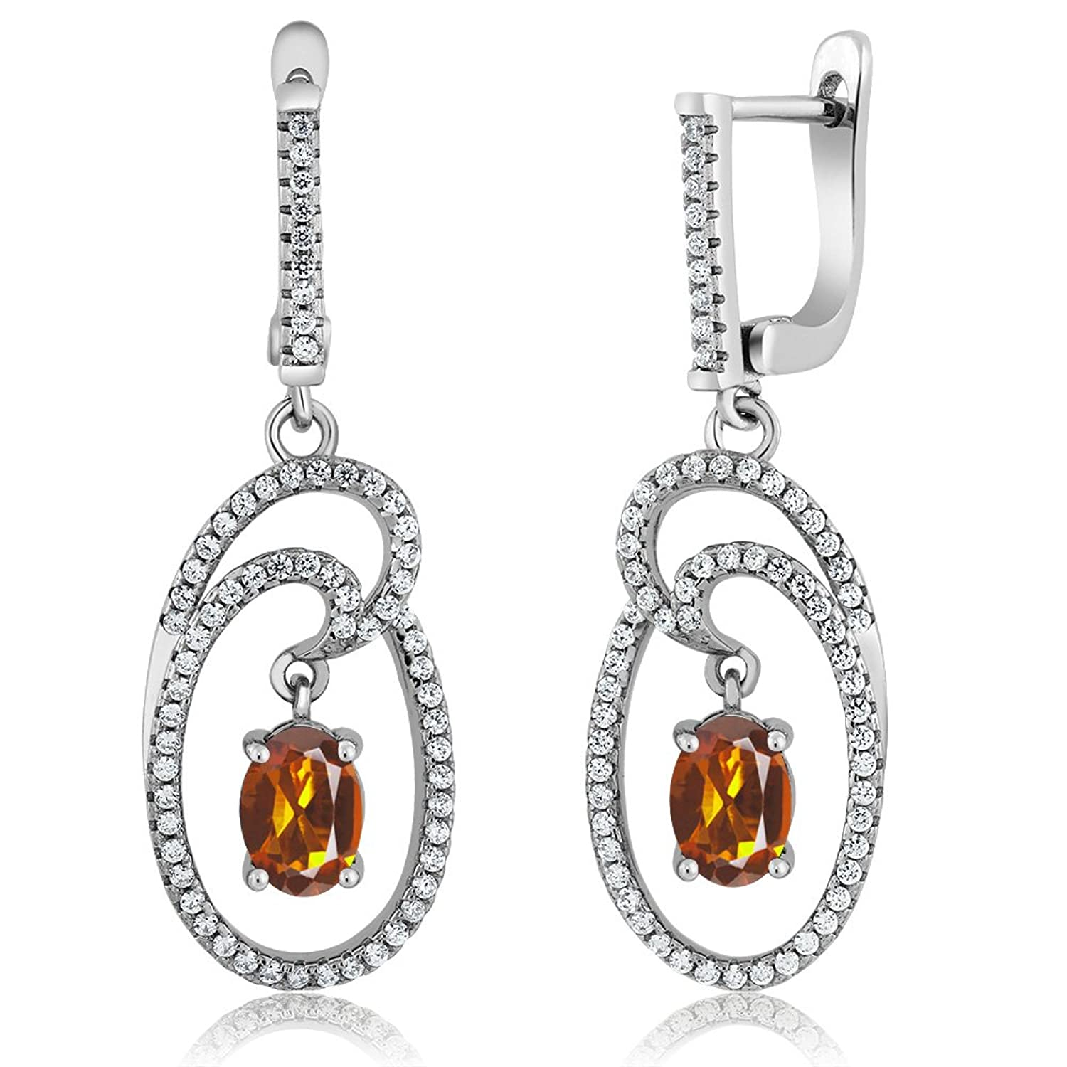 2.84 Ct Oval Orange Red Madeira Citrine 925 Sterling Silver Earrings