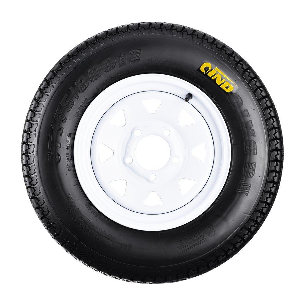 QD-719 Trailer Tires 175//80D-13 6 Ply Load C On White Rims 5 Lug//4.5