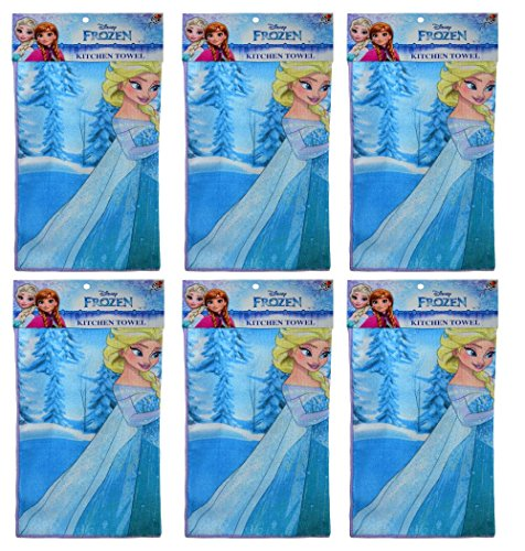 UPD 6 Pack Disney Frozen Elsa & Anna 16x16 Microfiber Hand Towel Kitchen Dishcloths