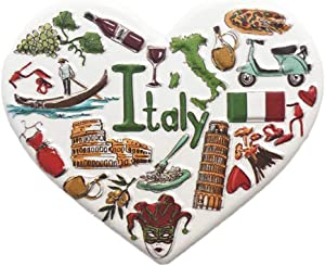 3D Italy Heart-shaped Refrigerator Magnet Tourist Souvenirs Resin Magnetic Stickers Fridge Magnet Home & Kitchen Decoration from China (Italy)