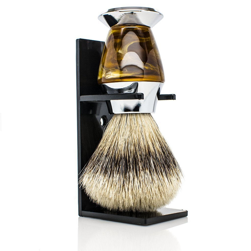 Maison Lambert 100% Silvertip Badger Bristle Faux Horn Handle Shaving Brush - Brush Stand Included - FREE US SHIPPING - Perfect gift for wet shavers for christmas, birthday or fathers day! by Maison Lambert