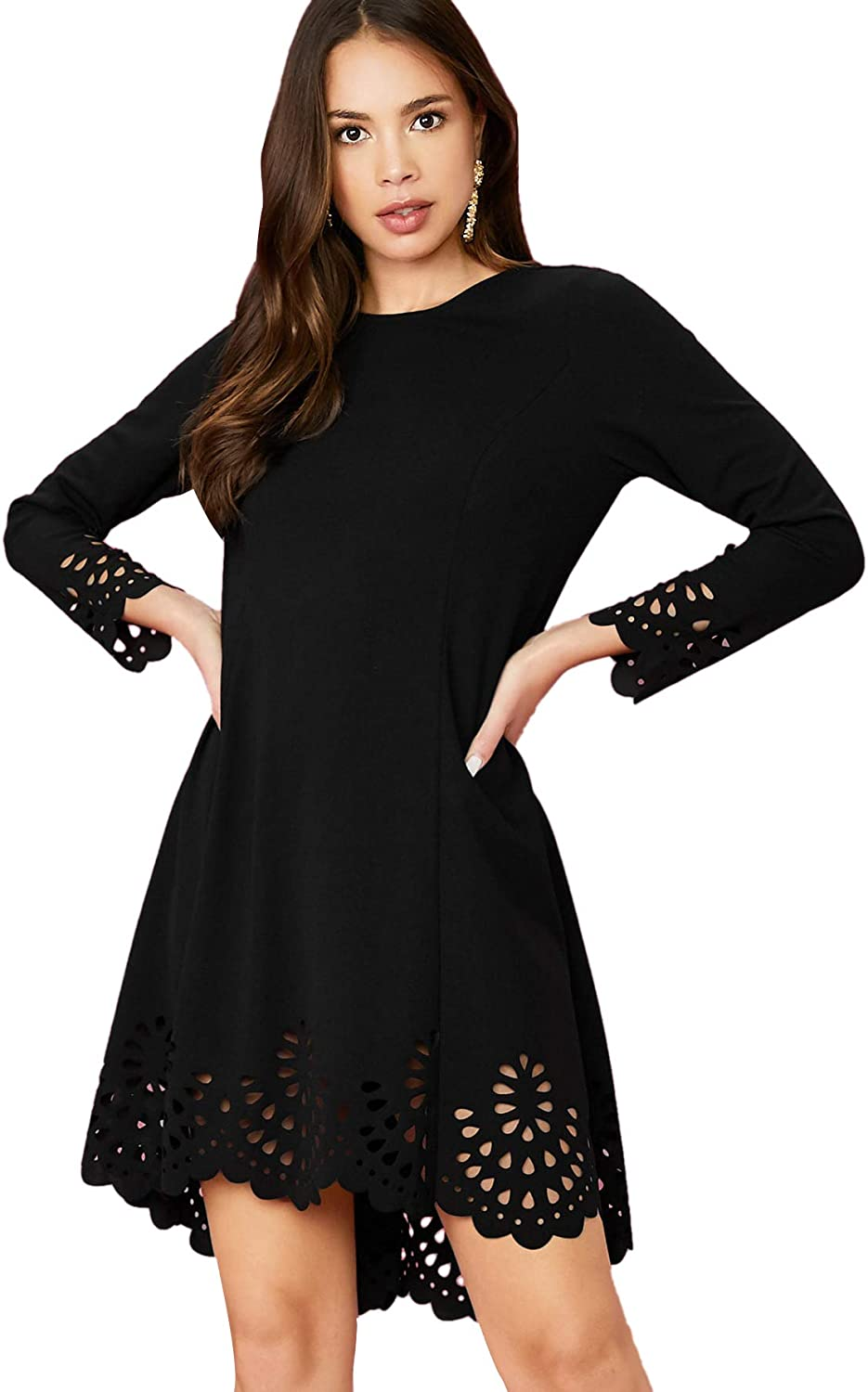 Romwe Womens Plus Laser Cut Out Solid Scallop A-line Dress