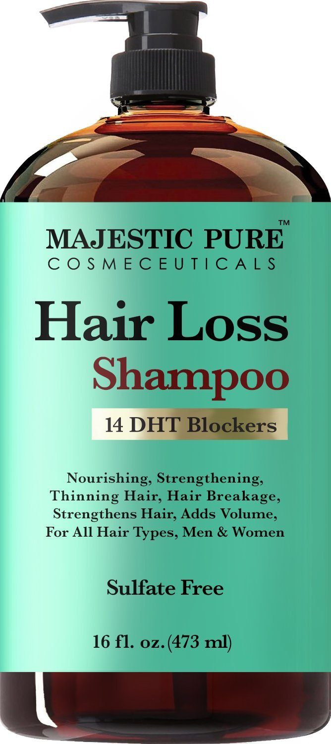Majestic Pure Hair Loss Shampoo, Offers Natural Ingredient Based Effective Solution, Add Volume and Strengthen Hair, Sulfate Free, 14 DHT Blockers, for Men & Women - 16 fl Oz by Majestic Pure