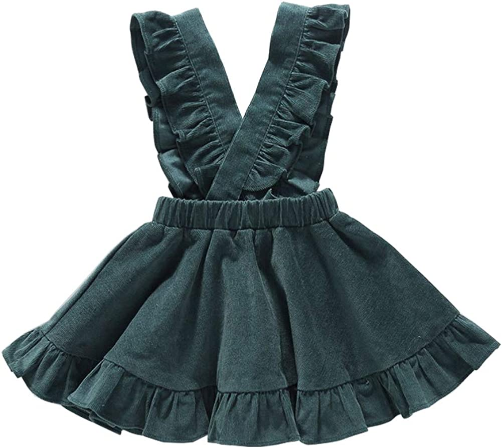 OUTGLE Baby Toddler Girl Ruffle Sleeve Suspender Skirt Little Girl Autumn Winter Dress Outfits