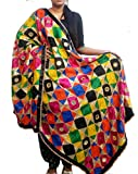 Phulkari Dupatta hand made embroidery chinon chifon fabric - dupatta with multi colored ethnic designer thread work black and multi