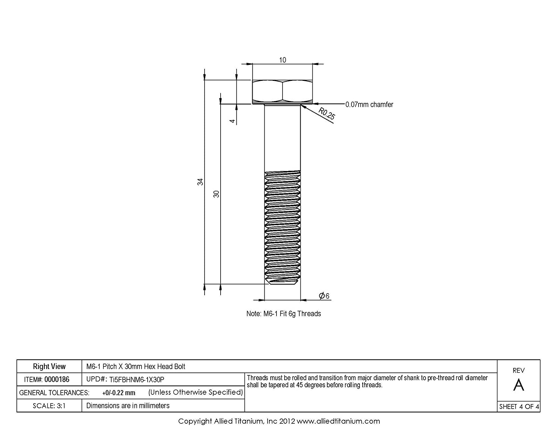 Pack of 10 Allied Titanium 0000186, Inc M6-1 Pitch X 30mm Titanium Hex Head Bolt Ti-6Al-4V 1033933001 Grade 5