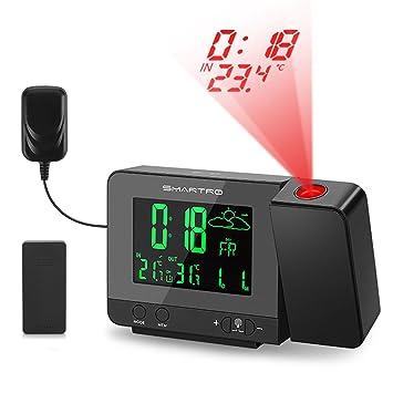 Proyección Reloj Despertador, smartro Digital Alarm Clock estación meteorológica de del Donante con pantalla LCD