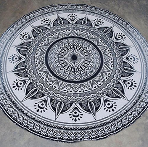 VIASA Round Roundie Mandala Round Roundie Beach Throw Picnic Tapestry Hippy Boho Gypsy Cotton Table Cover Beach Tapestry (Where To Buy Tapestry Wall Hangings)
