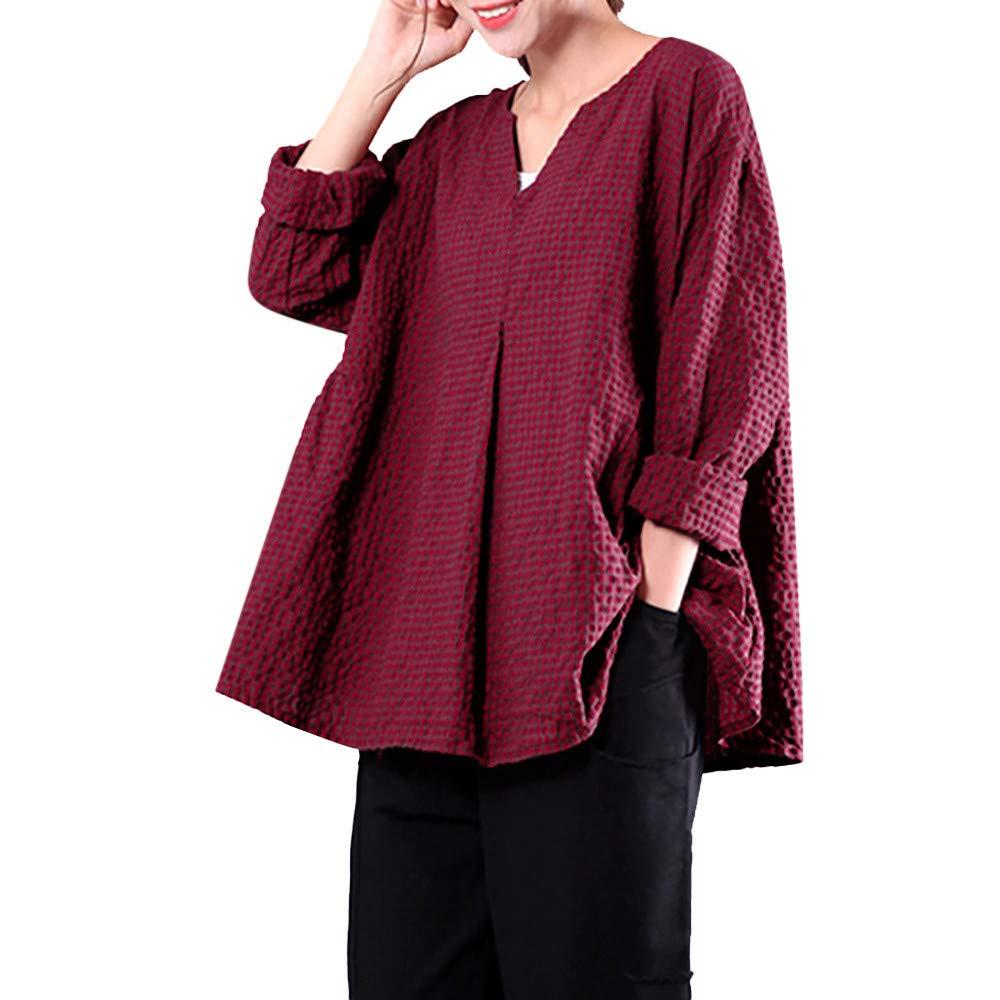 ZIYOU Damen Übergröße Bluse Baumwolle/Leinenster, Frauen Casual V-Ausschnitt Oberteile Tops Elegante Outwear Einfarbig