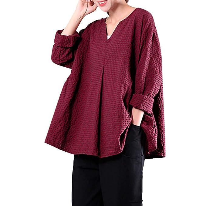 Yvelands Camisa de Lino de algodón para Mujer, Womens Plaid Shirt Casual con Cuello en