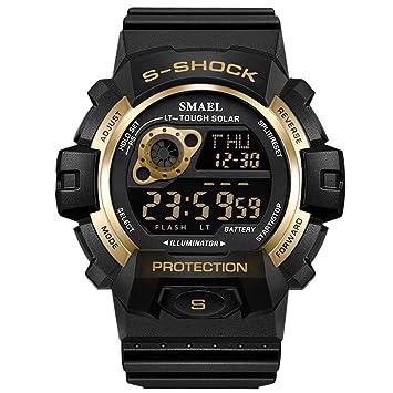 WULIFANG Reloj Digital Led Reloj Deportivo De Hombres Ejecutando Coche Fecha Hombres Reloj Cronógrafo Smart Sports Watch Impermeable Oro: Amazon.es: ...