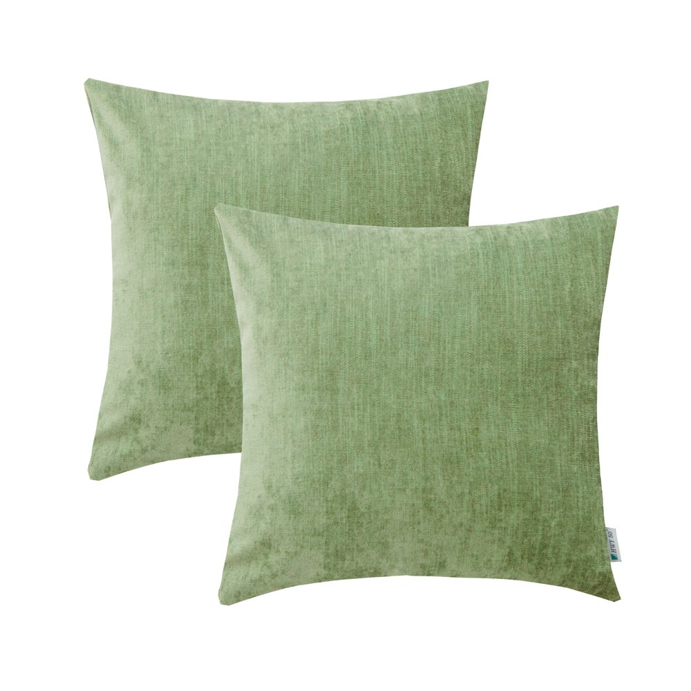 HWY 50 Green Throw Pillows Covers For Couch Sofa Bed 18 x 18 inch, Pack of 2 Soft Comfortable Natural Cotton And Linen Decorative Throw Pillows Cases, Euro Decor Cushion Covers