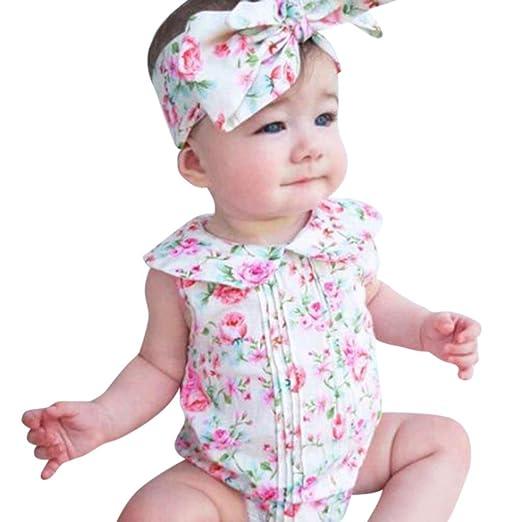 522dfc5f6c4d Amazon.com  KONFA Toddler Infant Baby Girls Flowers Print Rompers+ ...